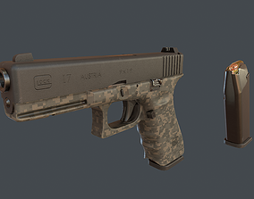 Camouflage Glock 17 with magazine 3D asset