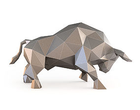 3D model VR / AR ready Low Poly Bull