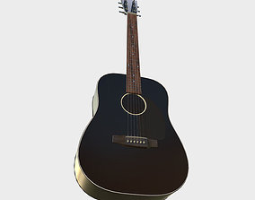 3D model low-poly Acoustic Guitar