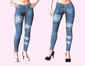 3D model animated Distressed Jeans