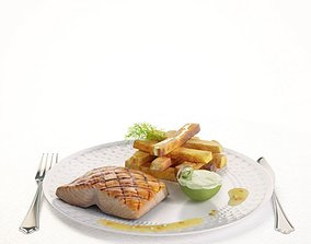 3D Food Salmon And Potatoes