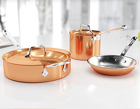 Copper kitchen set 3D model