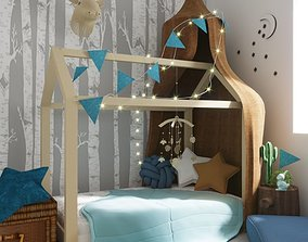 Kid Room interior with toys and decor scene 3D