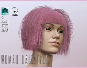 Woman Hairstyle 3D asset game-ready PBR