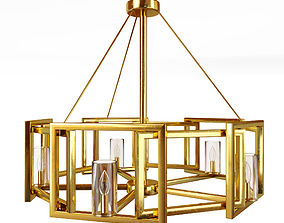 3D model Marco 5 Light Chandelier in White Gold with Clear