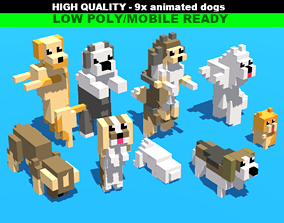 Simple Blocky Dogs Animated 3D model