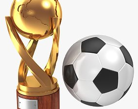 Gold Cup and Soccer Ball 3D asset
