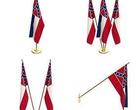 Mississippi Flag Pack 3D model