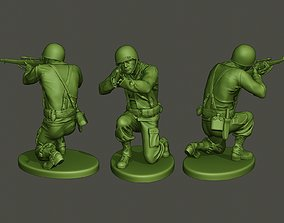 3D printable model American soldier ww2 Shoot crouched 1