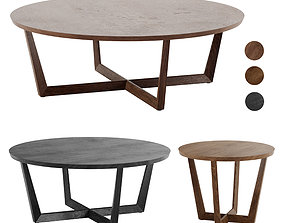 Stowe Round Coffee Table West Elm 3D model