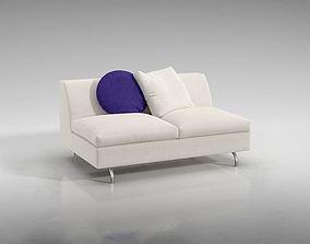 3D White Cushioned Sofa