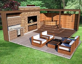 furniture outdoor kitchen lounge grill hot tube 2