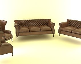 buttoned 3D model Chesterfield Set