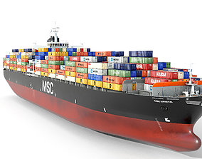 3D asset Container ship MSC