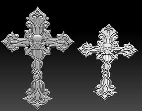 3D print model Cross with skull