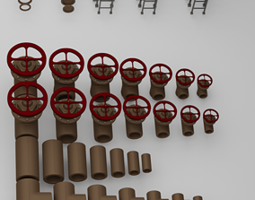 3D model Modular pipe parts for scene