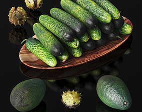 Cucumbers chestnuts and avocados 3D asset