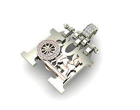 3D print model Hermes horse diamond pendant
