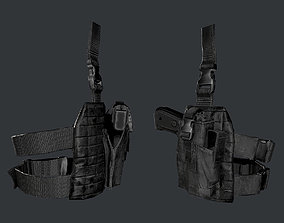 3D asset Military Police Gun Holster Game Ready 02
