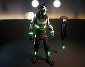 Cyberpunk gladiator 3D asset