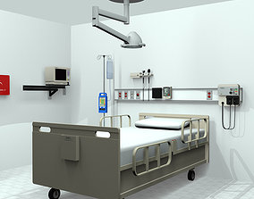 Hospital Room Medical Equipment with Animated ECG 3D