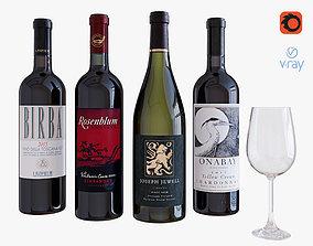 3D Wine bottle set 8