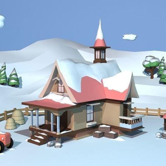 Winter Cottage Scene