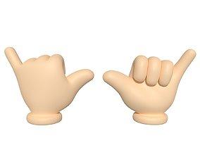 Hand Cartoon - Shaka Sign 3D asset