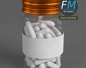 Pharma capsule pills and bottle 3D model