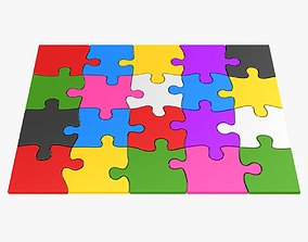 Colorful Puzzle Pieces 3D asset