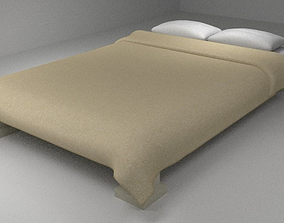 3D asset Bed with Fabric Sheet and Pillows