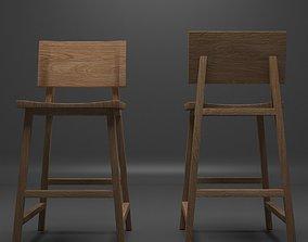 3D asset Wooden Stool