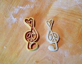 Peace love music cookie cutter 3D print model