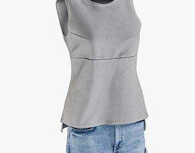 Womens Jean Shorts Tshirt 8 3D asset
