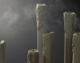 3D asset Melted Candles pack - ten different size
