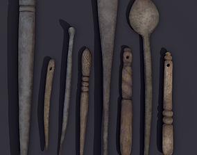 3D model Medieval Needles Makeup Pieces