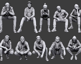 Lowpoly People Sitting Pack Volume 8 3D asset