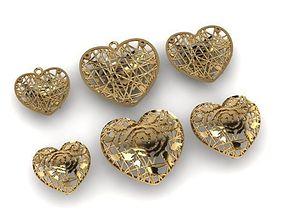 3 heart fashion pendant 3D print model
