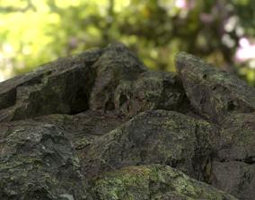 3D asset Moss-Base Rock Pack PBR Low Poly