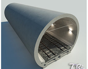 3D model rigged RAILWAY TUNNEL SECTION