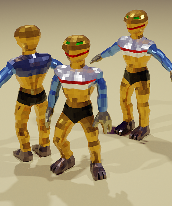 Lizard Man Model for Low-Poly Games Low-poly