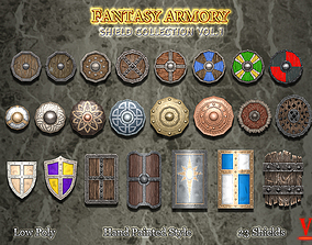 Medieval Fantasy Shield Collection 3D asset