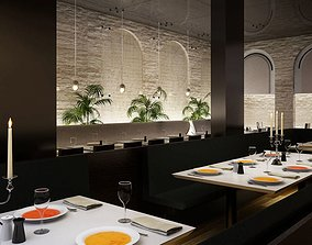Modern Restaurant Interior 3D model