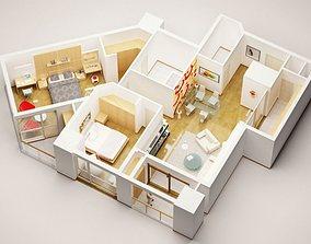 3D Model Detailed House Interior 3