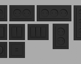 3D model Black switches sockets dimmer and charging port