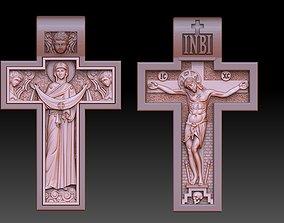 orthodox cross crucified and virgin 3D printable model 1
