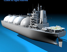 Gas ship 3D asset animated
