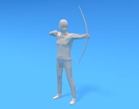 3D asset Low Poly Archer Kid
