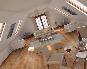 3D model Attic Living Room Scene