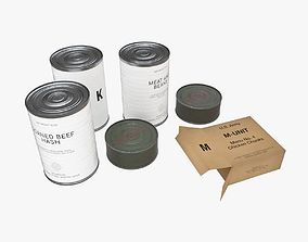 US K-rations set WWII 3D model
